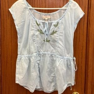Abercrombie & Fitch Blue Top Green Embroidery M